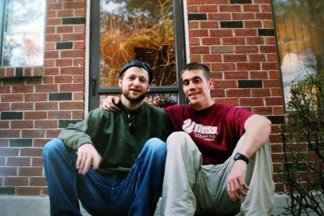 Poet Daniel Johnson (left) had a close friendship with Jim Foley (right), the journalist captured and beheaded by ISIS. This is a photo of them together at UMass Boston.